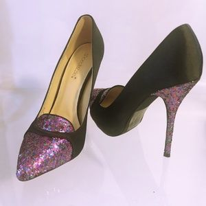 Shoe Dazzle Black Satin Colorful Glitter Heels- 7